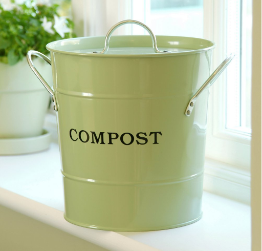 Compost bin with removable inner bucket, available on Amazon in several colors. Kitchen countertop compost bin. #HowToMakeOrganicCompost #MakingOrganicCompost #KitchenCompost #GardensAll #MakeCompost #OrganicCompost #GardensAll